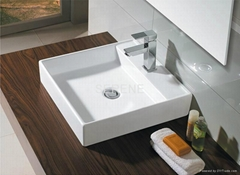 Popular Design Square Ceramic White Color Counter Top Wash Basin