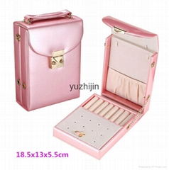 Portable creative leather jewelry box with Metal chain,