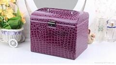Super beauty leather jewelry box with drawer and lock