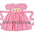 Cute pumpkin smocked girl dress for