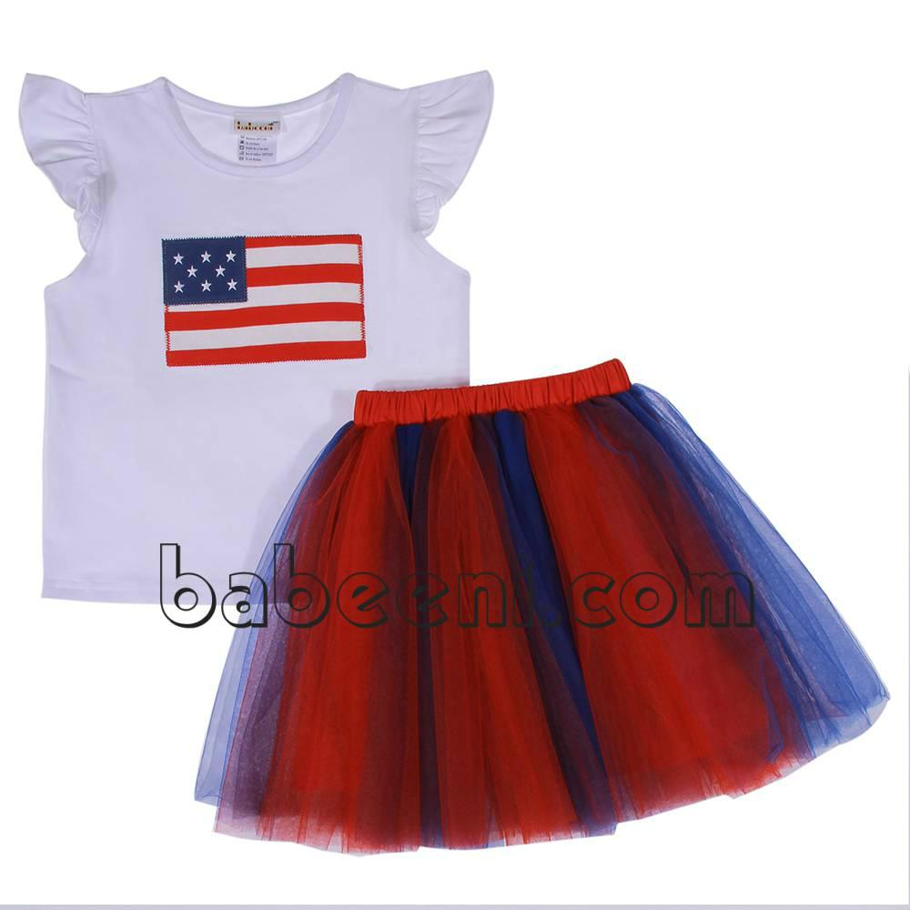 Blue and Red tutu dress set for baby girl - DR 2306 1