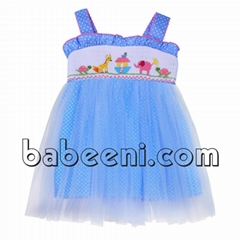 Nice blue tutu dress with cute smocked animals pattern on chest - DR 2368