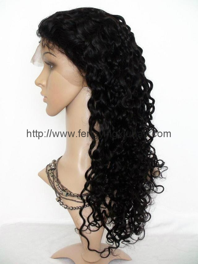 2016 women high temperature wire inclined long hair a little curly wig 1