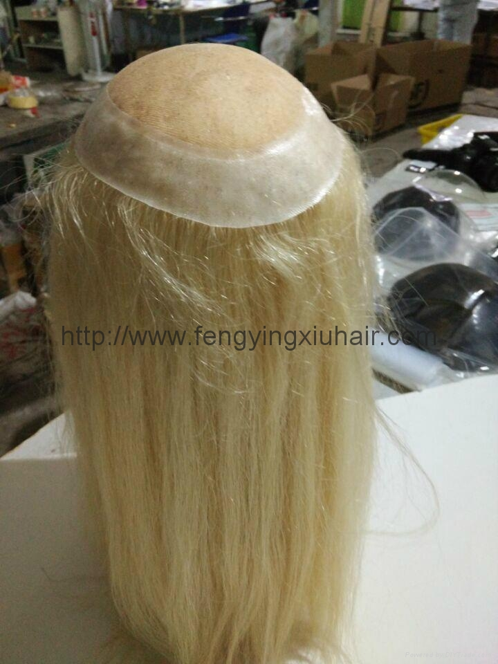 Wholesale Human Hair Thin Skin Injection Toupee for Women 1