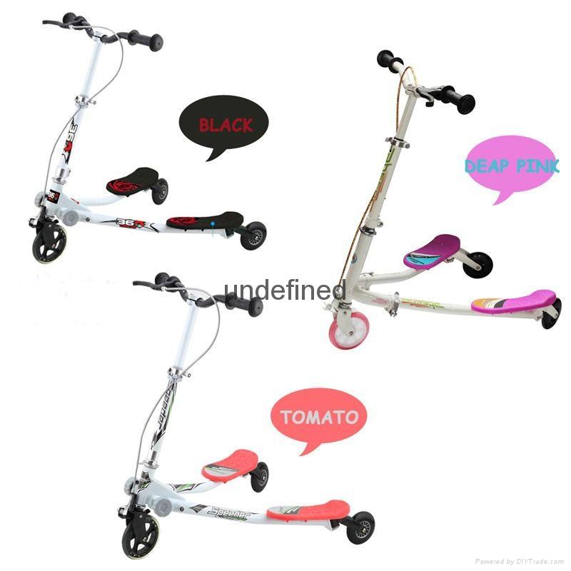 新款儿童滑板车 可刹车可飘逸调节双脚龙行车 3