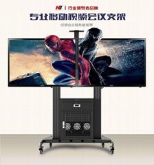 双屏液晶电视挂架移动带柜推车