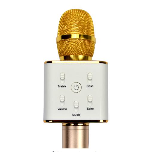 Portable Wireless Bluetooth Karaoke Microphone Q7 Stereo Bluetooth Speaker Recei 2