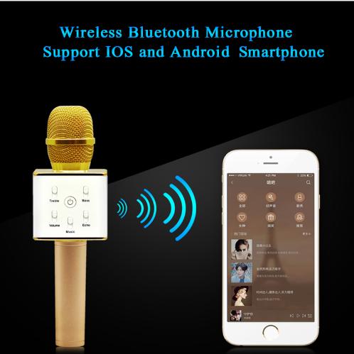 Portable Wireless Bluetooth Karaoke Microphone Q7 Stereo Bluetooth Speaker Recei 1