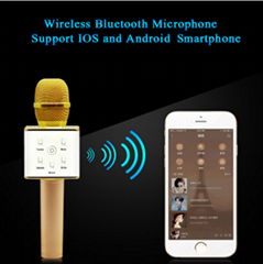 Portable Wireless Bluetooth Karaoke Microphone Q7 Stereo Bluetooth Speaker Recei