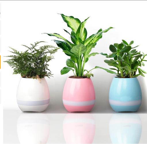 Smart Bluetooth MINI Wireless Music Flowerpot Speaker with Colorful LED Light an 4