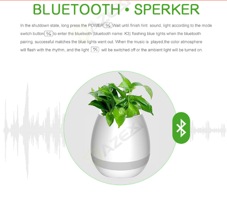 Smart Bluetooth MINI Wireless Music Flowerpot Speaker with Colorful LED Light an 9