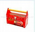 3D embossment lunch box with PVC window plastic handle and lock for kids 3
