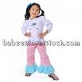 Lovely Snowman appliqued set for baby girls - BB840 1
