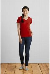 gildan吉尔丹63v00L纯棉V领纯色短袖T恤女广告文化衫来图定制印字