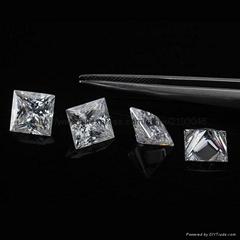6.5mm princess cut moissanite loose stones