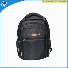 Large capacity black 600D polyester laptop computer backpack