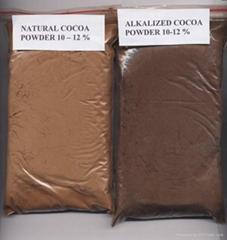 Natural cocoa powder and alkalized cocoa powder