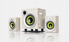 E300PLUS多媒体电脑音箱木质2.1低音炮