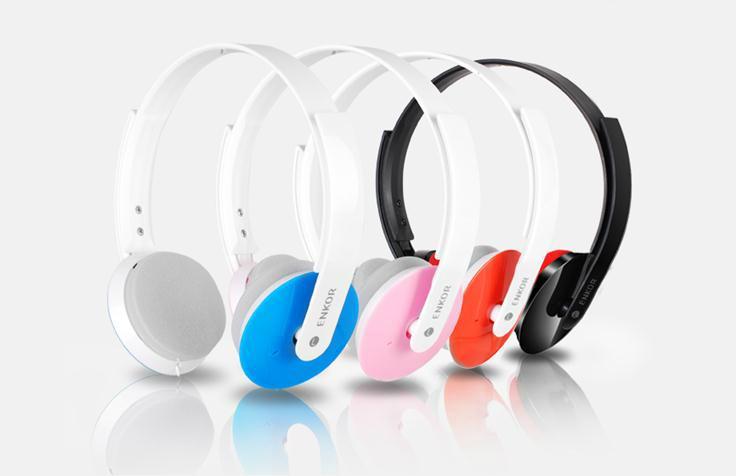 头戴式线控可伸缩电脑手机恩科耳机立体声可通话  1