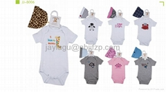 baby cotton short body suit with hat