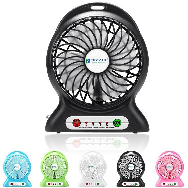 Portbale mini usb rechargebale power bank desktop cooler fan with led light lamp 1