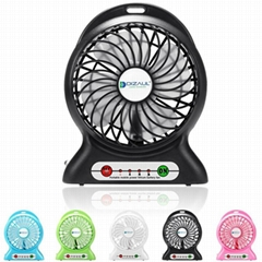 Portbale mini usb rechargebale power bank desktop cooler fan with led light lamp