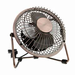 New products 2016 USB air cooler bronze meatl antique copper fan usb desk fan