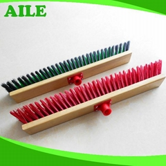 Plastic Hair Floor Brush With Wooden Handle