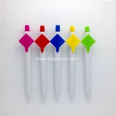 廣告促銷塑料禮品筆無筆尖一體式圓珠筆挂鉤可印刷二維碼