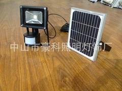 豪科光伏太阳能人体感应投光灯 10W高亮度LED集成灯珠 节能环保 �