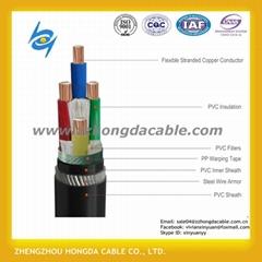 0.6/1KV低壓交聯聚乙烯絕緣銅芯鋼絲鎧裝電力電纜