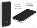 Power bank 10000mah Li polymer external battery  moble powersupply with 3 inputs