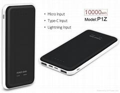 Power bank 10000mah Li polymer external battery  moble powersupply with 3 inputs