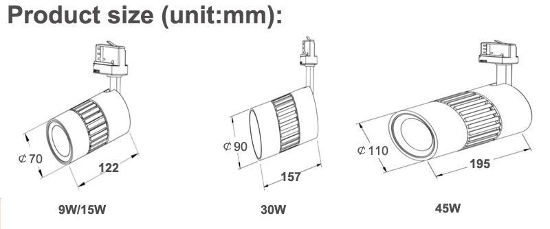 9W LED Track Light spot lamp all-ways rotatable no flicker CRI>90  5
