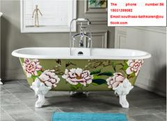 quality sanitary ware CE classical bathroom painting cast iron enameled bathtub