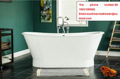 china made bathroom sanitary ware fashion pedestal cast iron enameled bathtub