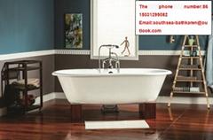 classical sanitary ware bathroom cast iron enameled pedestal bathtub
