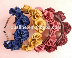 Hot sale suede fabric handmade rose winter headband