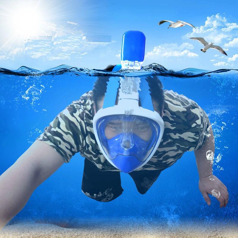 浮潜全面罩 硅胶全干式潜水镜 gopro防雾摄像 浮潜装备 5