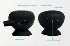 Mushroom waterproof silicone sucker cup bottom mini bluetooth shower speaker