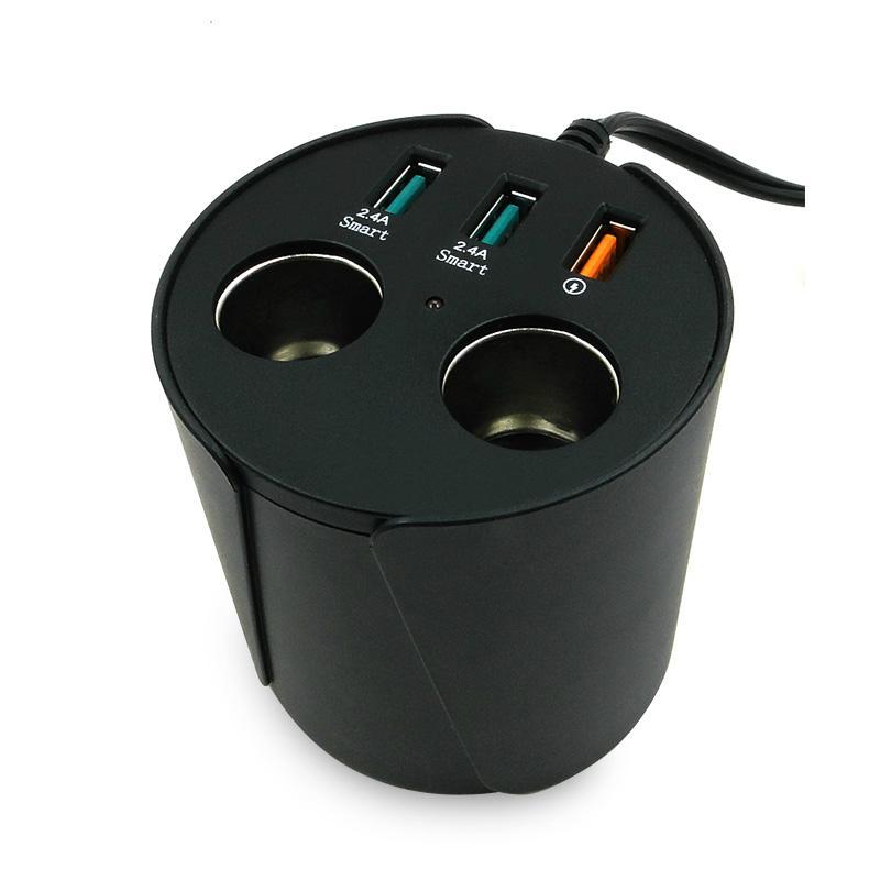 cupholder intelligent car charger with cigar cigarette lighter 4