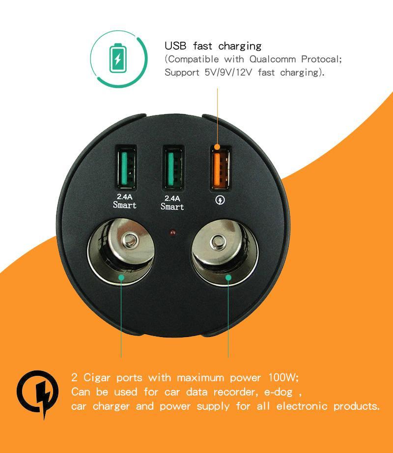 cupholder intelligent car charger with cigar cigarette lighter 8