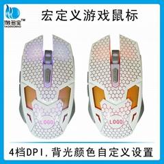 镭雕发光USB有线宏定义鼠标