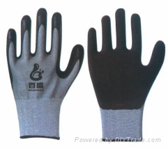 Cut Resistance Latex palm coating with crinkle finished 1