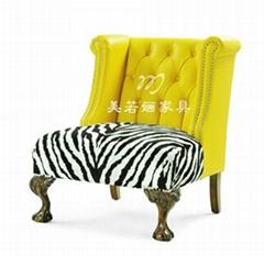 美式乡村实木椅客厅会所布艺老虎椅休闲椅高背
