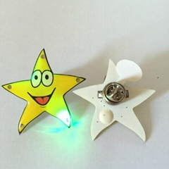 Cusomized Star Design LED Light Blinking Button Pins for Promotion (3569)
