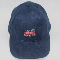 Red and Navy blue baseball hat Suede cloth with soft nap fabric