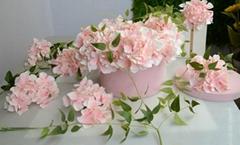 Hot sale interior decoration wholesale artificial hydrangea flower head silk flo