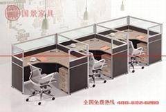 厂家直销国景(gokeng)三人位屏风办公桌