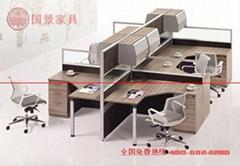 厂家直销国景(gokeng)四人位屏风办公桌